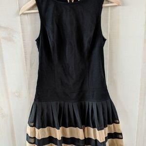 LOFT Classy Sleeveless Black Tan Dress Size 0